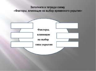 Заполните в тетради схему «Факторы, влияющие на выбор временного укрытия» Фак