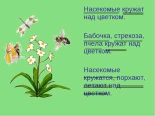 Насекомые кружат над цветком. Бабочка, стрекоза, пчела кружат над цветком. Н