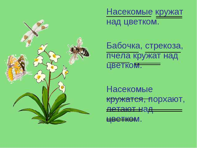 Насекомые кружат над цветком. Бабочка, стрекоза, пчела кружат над цветком. Н...