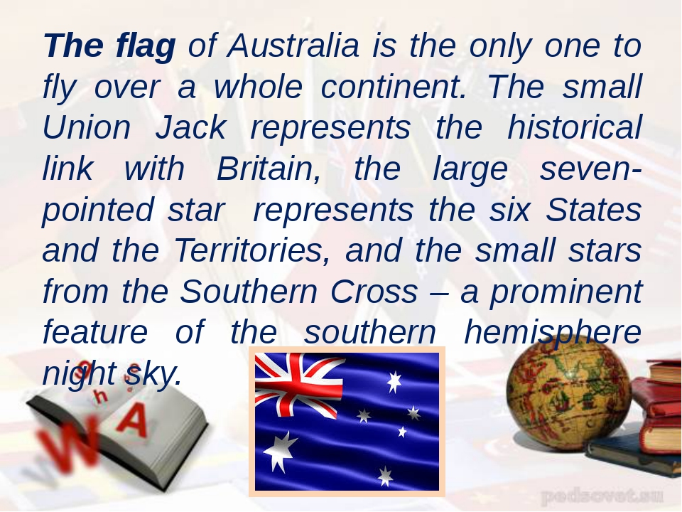 The flag of Australia is the only one to fly over a whole continent. The smal...