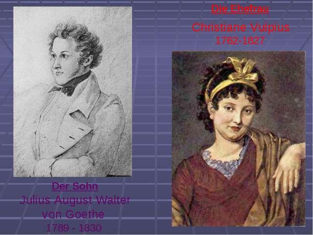 Christiane Vulpius 1762-1827 Die Ehefrau Der Sohn Julius August Walter von Go...