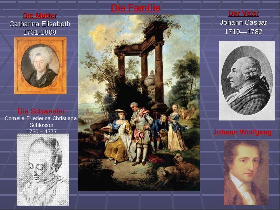 Die Mutter Catharina Elisabeth 1731-1808 Der Vater Johann Caspar 1710—1782 Di...