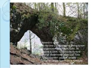 Немного ниже поКатунирасположена уникальная Талдинская карстовая арка, не д