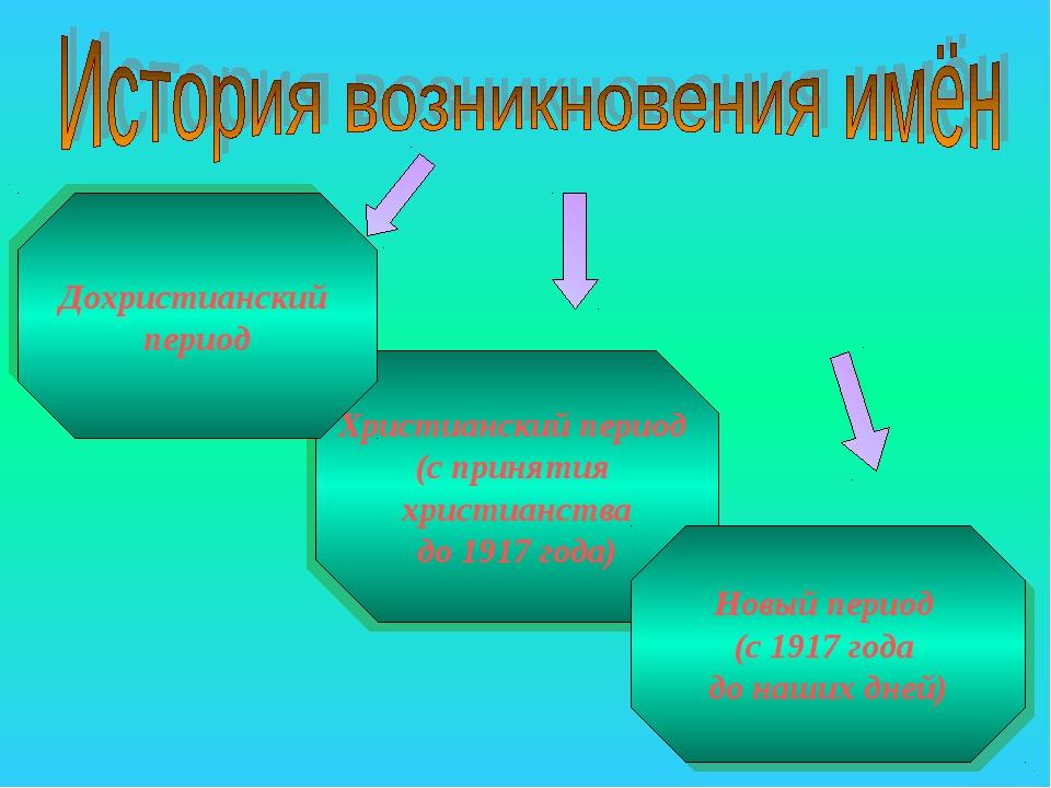 Христианский период (с принятия христианства до 1917 года) Новый период (с 1...