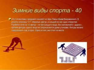 Зимние виды спорта - 40 Эту головоломку придумал хоккеист из Шри-Ланки Ишам В