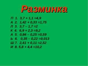 Разминка П 1. 3,7 + 1,1 =4,9 А 2. 1,42 + 0,33 =1,75 Л 3. 3,7 – 1,7 =2 К 4. 6,