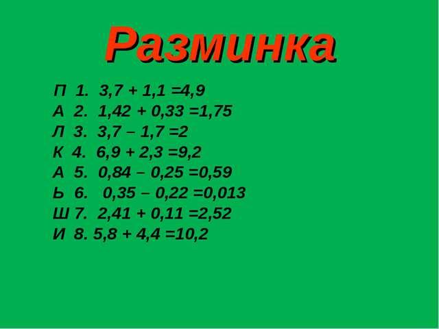 Разминка П 1. 3,7 + 1,1 =4,9 А 2. 1,42 + 0,33 =1,75 Л 3. 3,7 – 1,7 =2 К 4. 6,...
