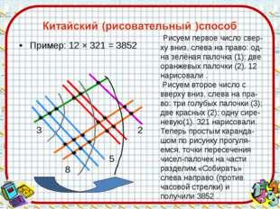 Пример: 12 × 321 = 3852 3 8 5 2 Рисуем первое число свер-ху вниз, слева на пр