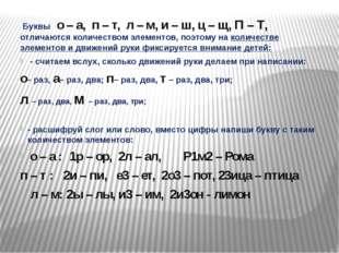 Буквы о – а, п – т, л – м, и – ш, ц – щ, П – Т, отличаются количеством элеме