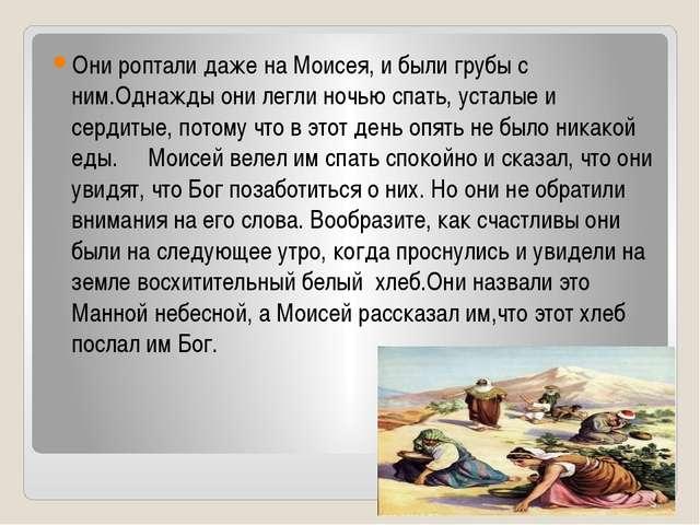 Они роптали даже на Моисея, и были грубы с ним.Однажды они легли ночью спать...