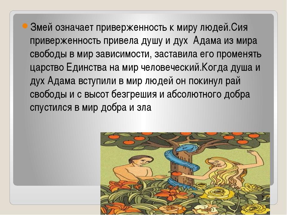 Змей означает приверженность к миру людей.Сия приверженность привела душу и...