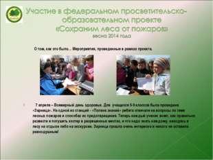 О том, как это было… Мероприятия, проведенные в рамках проекта. 7 апреля – В