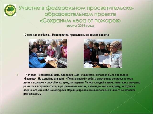 О том, как это было… Мероприятия, проведенные в рамках проекта. 7 апреля – В...