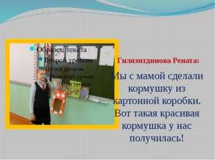 Гилязитдинова Рената: Мы с мамой сделали кормушку из картонной коробки. Вот