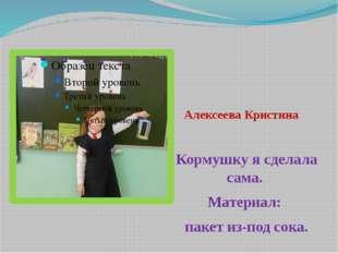 Алексеева Кристина Кормушку я сделала сама. Материал: пакет из-под сока.