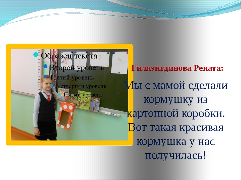 Гилязитдинова Рената: Мы с мамой сделали кормушку из картонной коробки. Вот...