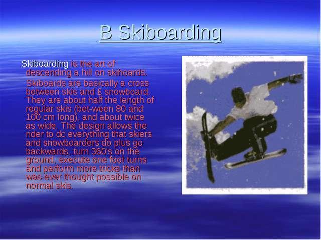 В Skiboarding Skiboarding is the art of descending a hill on skihoards. Skibo...