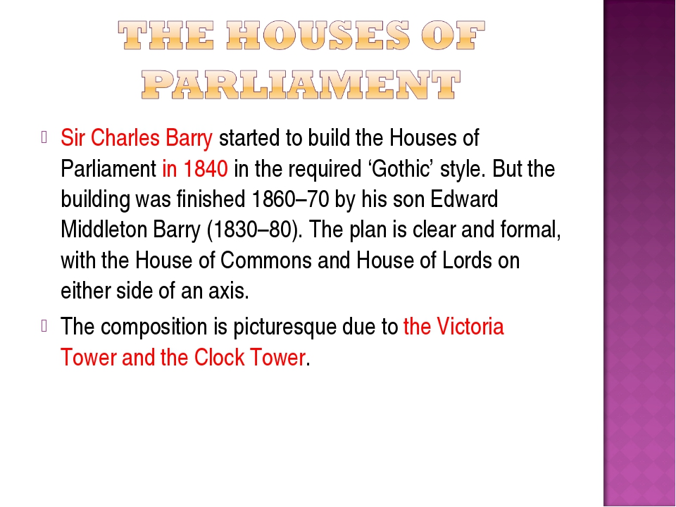 Sir Charles Barry started to build the Houses of Parliament in 1840 in the re...