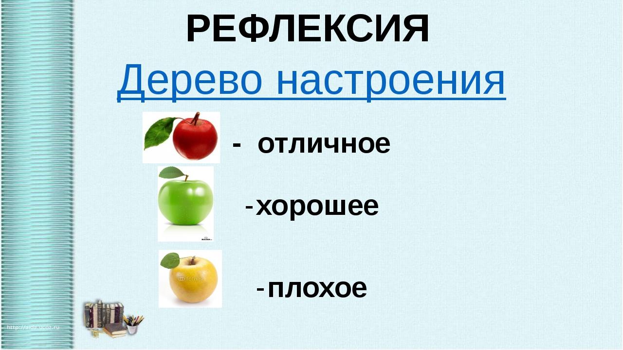 РЕФЛЕКСИЯ Дерево настроения - отличное хорошее плохое