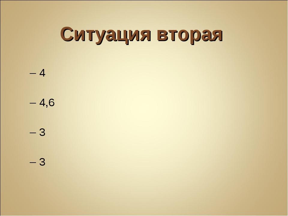Ситуация вторая А – 4 Б – 4,6 В – 3 Г – 3