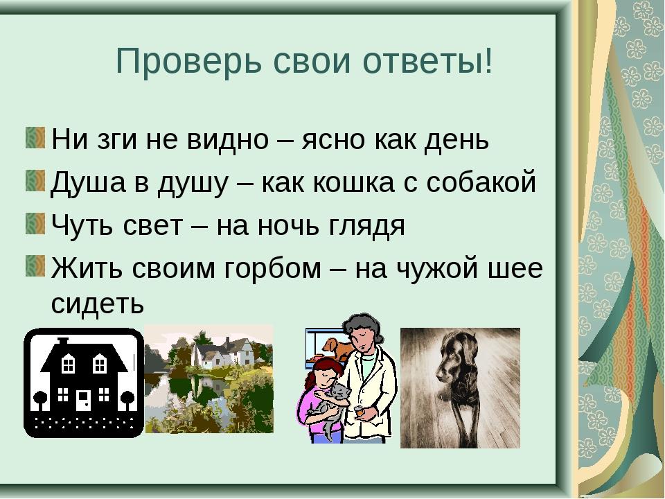 Проверь свои ответы! Ни зги не видно – ясно как день Душа в душу – как кошка...