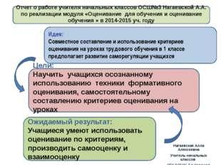 Отчет о работе учителя начальных классов ОСШ№3 Нагаевской А.А. по реализации