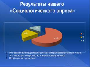 Результаты нашего «Социологического опроса» Это важная для общества проблема,