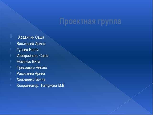 Проектная группа Арданкин Саша Васильева Арина Гусева Настя Илларионова Саша...