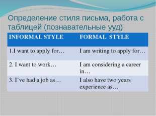 Определение стиля письма, работа с таблицей (познавательные ууд) INFORMAL STY