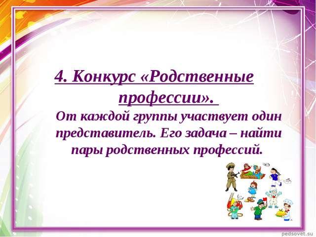 4. Конкурс «Родственные профессии». От каждой группы участвует один представи...