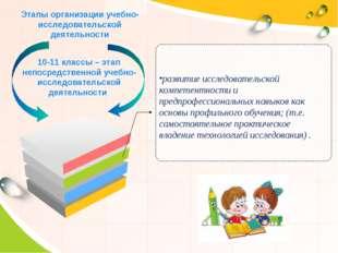 Этапы организации учебно-исследовательской деятельности 10-11 классы – этап н