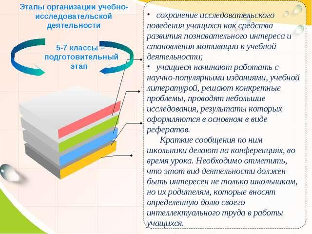 Этапы организации учебно-исследовательской деятельности 5-7 классы – подготов...