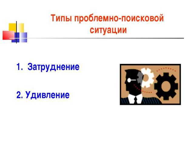 Типы проблемно-поисковой ситуации 1. Затруднение 2. Удивление