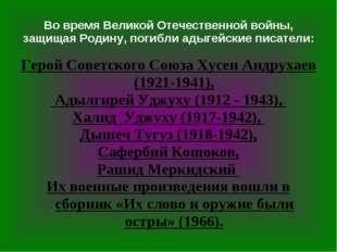 Во время Великой Отечественной войны, защищая Родину, погибли адыгейские писа