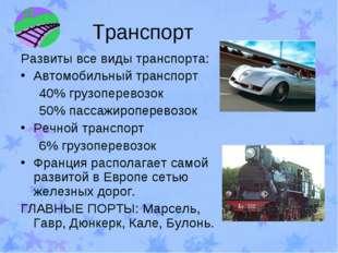 Транспорт Развиты все виды транспорта: Автомобильный транспорт 40% грузоперев