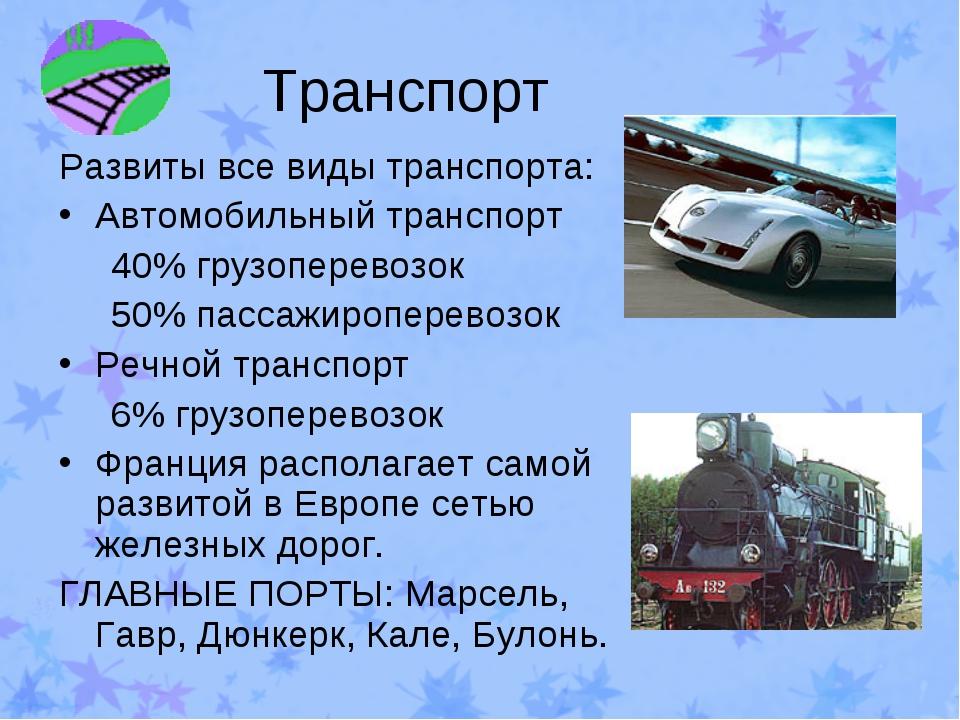 Транспорт Развиты все виды транспорта: Автомобильный транспорт 40% грузоперев...