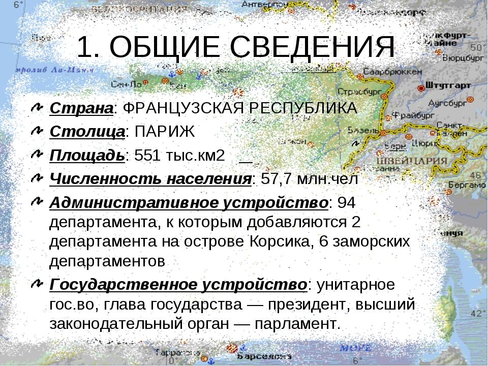 1. ОБЩИЕ СВЕДЕНИЯ Страна: ФРАНЦУЗСКАЯ РЕСПУБЛИКА Столица: ПАРИЖ Площадь: 551...