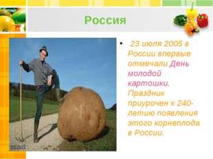 Россия 23 июля 2005 в России впервые отмечали День молодой картошки. Праздник