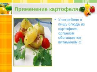 Применение картофеля Употребляя в пищу блюда из картофеля, организм обогащает