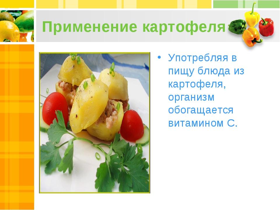 Применение картофеля Употребляя в пищу блюда из картофеля, организм обогащает...
