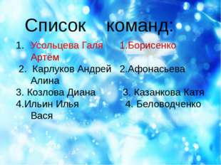Список команд: Усольцева Галя 1.Борисенко Артём 2. Карлуков Андрей 2.Афонась