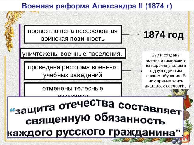 Были созданы военные гимназии и юнкерские училища с двухгодичным сроком обуче...