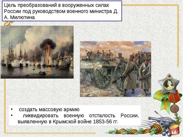 создать массовую армию ликвидировать военную отсталость России, выявленную в...