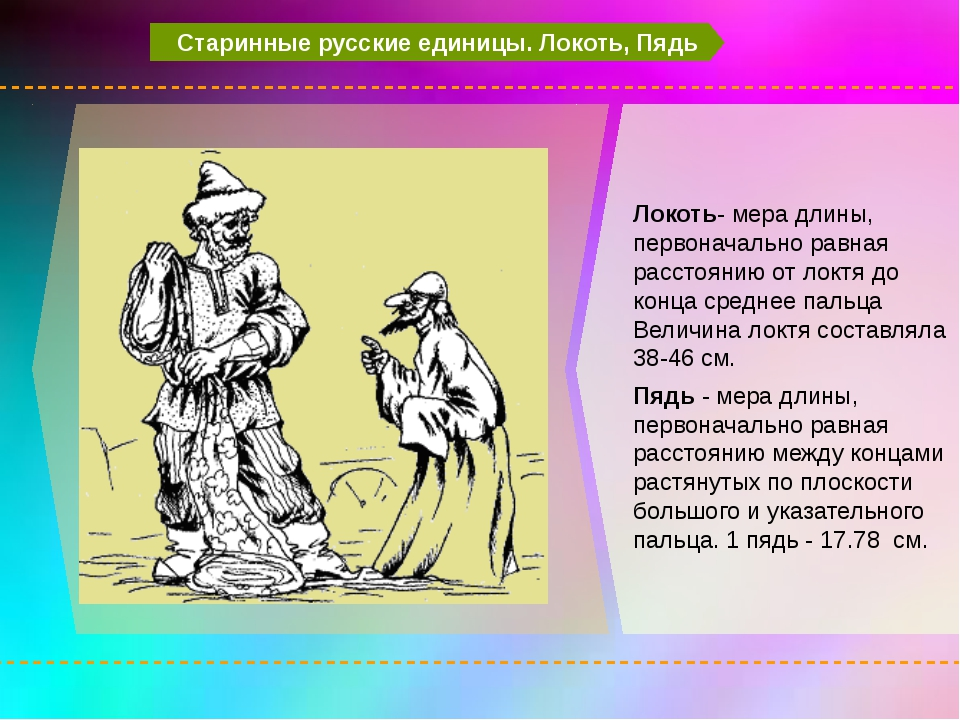 Старинные русские единицы. Локоть, Пядь Локоть- мера длины, первоначально ра...
