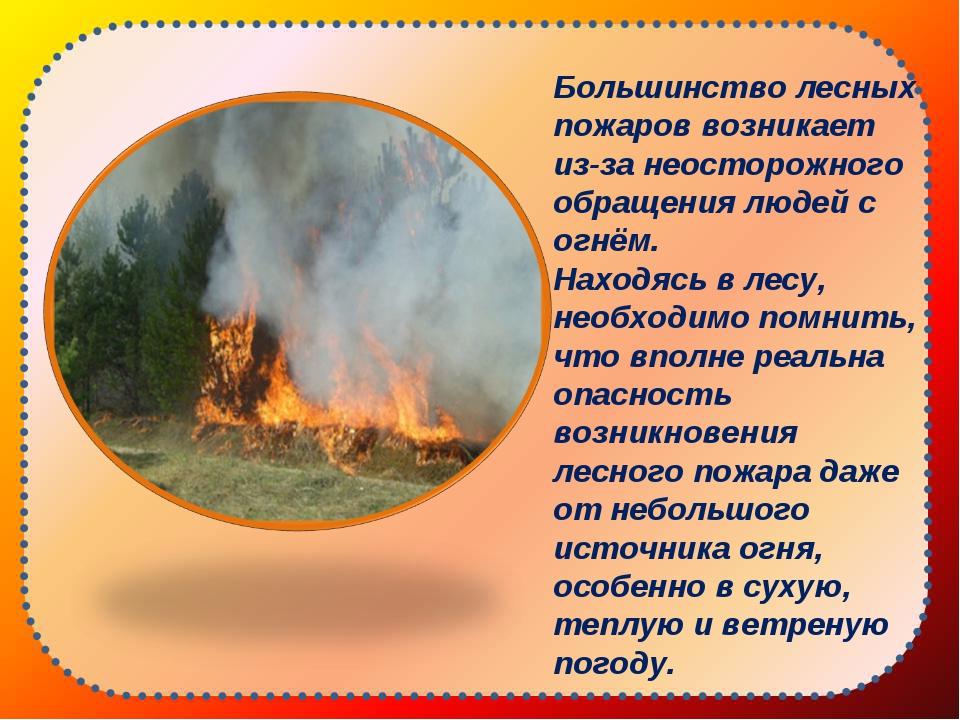 Большинство лесных пожаров возникает из-за неосторожного обращения людей с о...