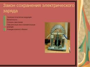 Закон сохранения электрического заряда Электростатическая индукция Валентност