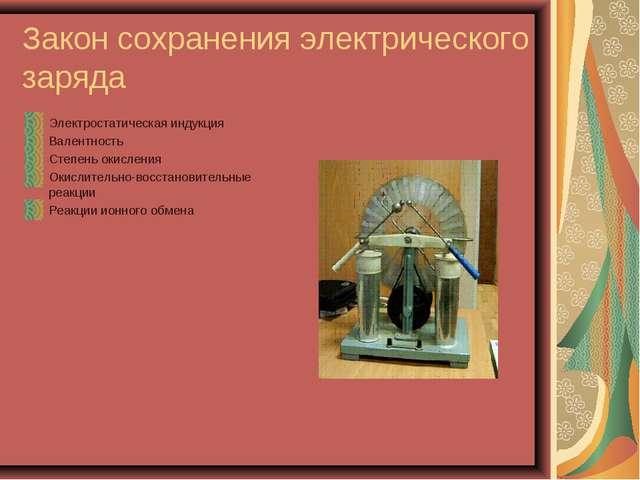 Закон сохранения электрического заряда Электростатическая индукция Валентност...