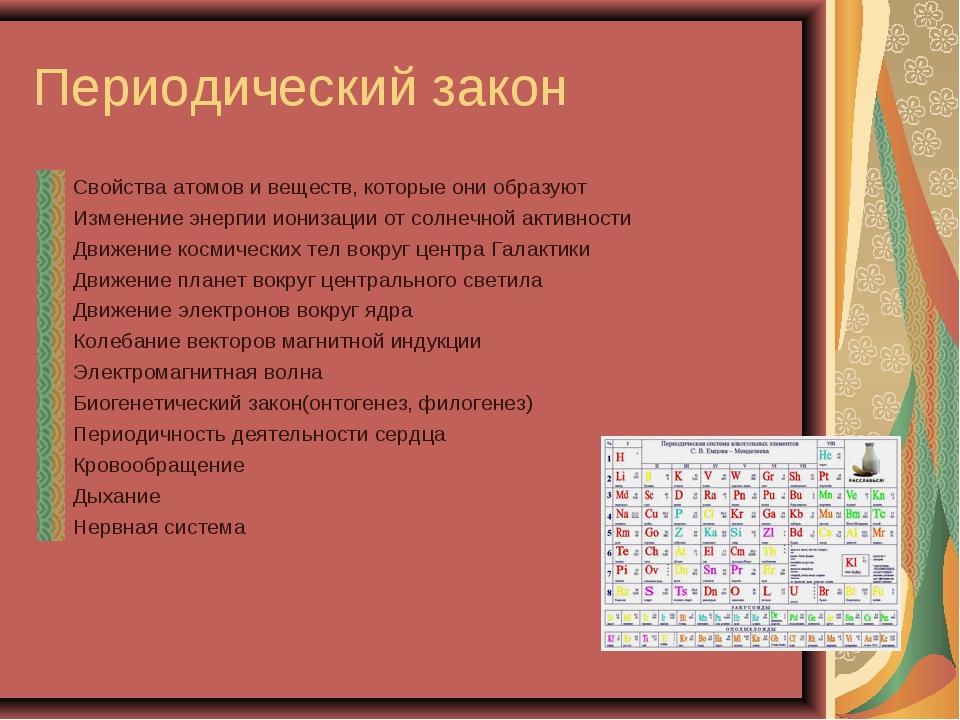 Периодический закон Свойства атомов и веществ, которые они образуют Изменение...