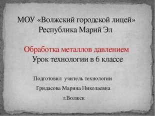 МОУ «Волжский городской лицей» Республика Марий Эл Обработка металлов давлени