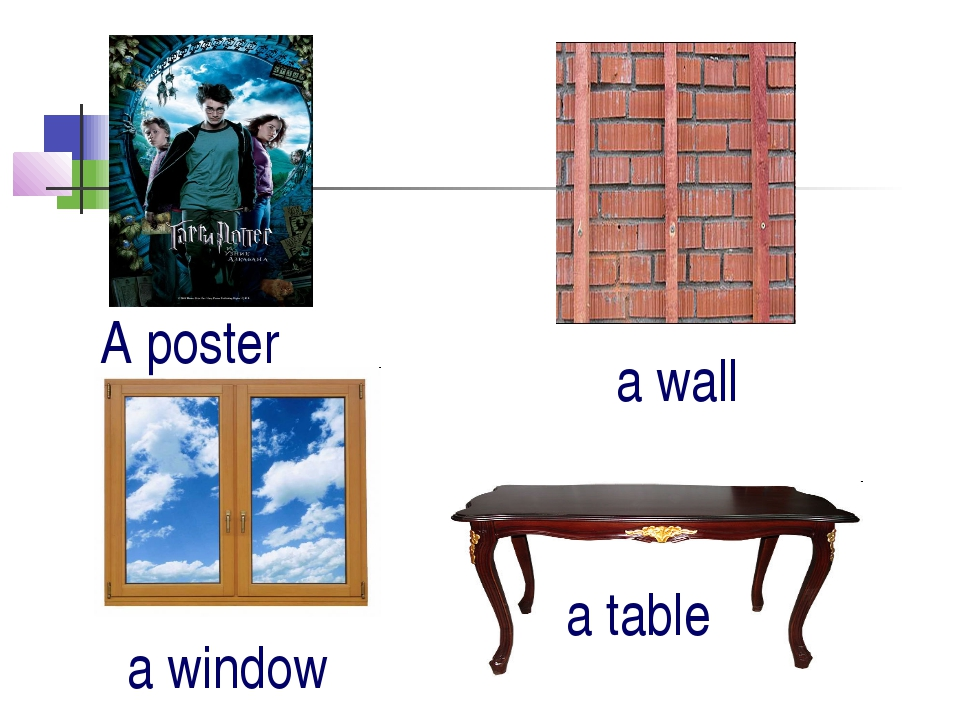 A poster a wall a window a table